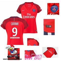 Vente Nouveau Maillot Football Paris Saint-Germain Rouge Femme (CAVANI 9)…