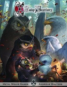 "Baby beastiary vol 1 cover art ""owlbear playing with griffon"" Two days left! Please support the kickstarter for volume 2 link is on my bio by rudy_crut Fantasy Anime, Fantasy Kunst, Creature Concept Art, Creature Design, Fantasy Artwork, Cover Art, Fantasy Beasts, Illustrator, Arte Horror"