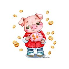 Фотография Happy New Year Cards, Happy New Year 2019, Pig Images, Pig Drawing, Pig Illustration, Pig Art, New Year's Crafts, Peppa Pig, Chinese New Year