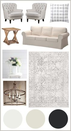 Living room makeover plans and paint colors to transform our builder grader town home living room into a cozy, pretty, modern farmhouse living room!
