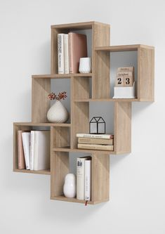 "Wall shelf ""Lotta I"" - in oak NB- Wandregal ""Lotta I""- in Eiche NB Wall shelf ""Lotta I"" Made in Germany with 6 large and 2 small compartments in oak imitation - Wall Shelf Decor, Shelves, Diy Furniture, Wall Shelves Design, Bookshelves Diy, Bookshelf Design, Home Decor, Cube Shelves, Shelving"