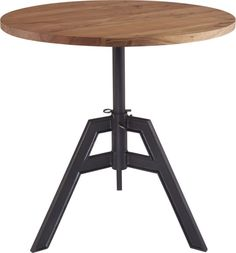 Mixed material design serves up (and down) an industrial revolution for small spaces.  Smooth round of solid sustainable acacia wood lifts and lowers from coffee table to kitchen bistro with a simple turn of the key on cast iron base.  Finished matte black with a hand-applied lacquer, welded center spindle supports the ups and downs of impromptu entertaining. Only $549.