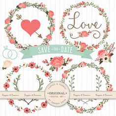 Premium Wedding Floral Clipart & Vectors  Mint and by AmandaIlkov