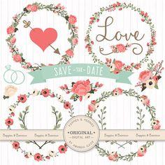 Premium Wedding Floral Clipart & Vectors  Mint and by AmandaIlkov