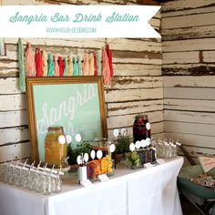 sangria bar drink station- add wine, fruit, herbs, and you have a seriously fabulous party station