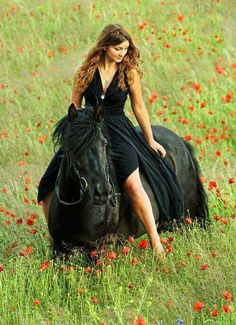 Girl bareback on a black horse in field of red flowers. Dreamy horse photography.