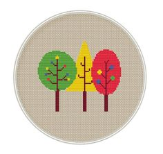Trees cross stitch pattern, Instant download, cross stitch PDF, forest cross stitch, MCS116