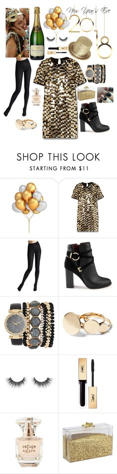 """New Year's Eve Outfit"" by trysie ❤ liked on Polyvore featuring Rachel Zoe, Wolford, Miss Selfridge, Jessica Carlyle, Yves Saint Laurent and Refuge"