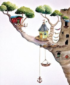 The Lost Boys' Tree House by MiniMurals on Etsy, $175.00