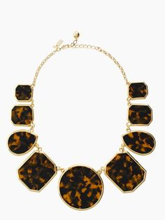 "New from Kate Spade: Graduated ""Swirl Around"" Necklace. Tortois-shell is really creeping in to jewelry."