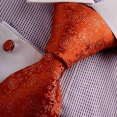 Intricate Paisley Burnt Orange Tie Cufflinks