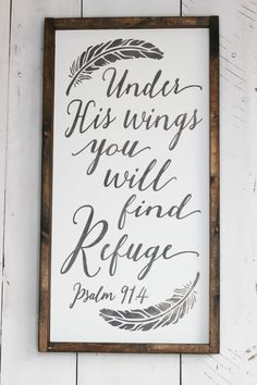 Under His Wings farmhouse wood signs Available at Simply Sarah (Diy House Signs) Diy House Signs, Home Signs, Diy Wood Signs, Pallet Signs, Farmhouse Signs, Farmhouse Decor, Diy Outdoor Table, Diy Planter Box, Diy Pallet Projects