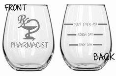 Pharmacist Etched Funny Glass Set of 2 Choose From Stemless Wine, Wine glass, Pilsner, Pub, Beer Mug, Rocks or Coffee Mug Sand Carved on Etsy, $29.95