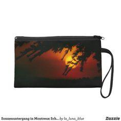 Sonnenuntergang in Montreux Schweiz Wristlet