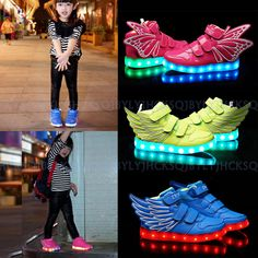 Kids Boys Girls Colorful LED Light Up Sports Velcro Sneakers Wings Dance Shoes #Unbranded #DanceShoes