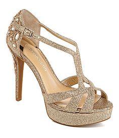 Gianni Bini Geneva Glitter Jeweled Dress Sandals - Waiting for these heels to go on sale! Bride Shoes, Prom Shoes, Dress And Heels, Dress Sandals, Heeled Sandals, Shoe Boots, Shoes Heels, High Heels, Shoe Bag