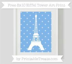 Pastel Blue Star Pattern  8x10 Eiffel Tower Art Print