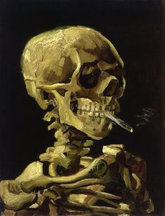 Skull with Burning Cigarette made in the year 1885 by Vincent van Gogh Style Post Impressionism