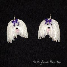 Beaded MALTESE earrings purple sterling silver by thelonebeader, $95.00