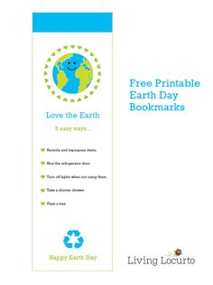 Free Printable Earth Day Bookmarks. Great to pass out to school friends. So cute!
