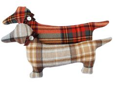 Wool plaid dachshund - wiener dog - stuffed pillow - pic for inspiration