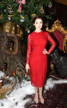 Anna Kendrick looks red-y for the holidays in this SUPERB red dress!