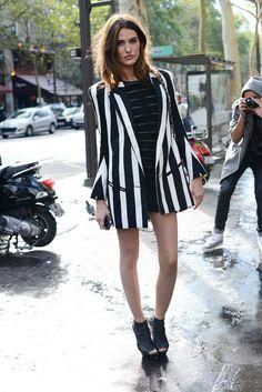 A bold mix of Balmain stripes and statement platforms.