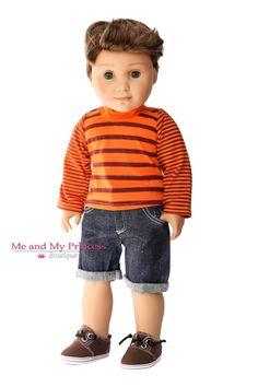 Striped Shirt & Cuffed Denim Shorts Outfit - Doll Clothes for American Boy Doll American Boy Doll, American Girl Crafts, American Doll Clothes, Boy Doll Clothes, Doll Clothes Patterns, Clothing Patterns, Denim Shorts Outfit, Boy Shorts, Dolls Dolls