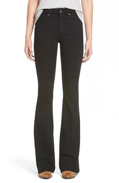 Main Image - Paige Denim 'Bell Canyon' High Rise Flare Jeans (Black Shadow)