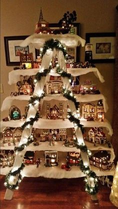 Use an Old Ladder & a few Boards to make a Christmas Village.these are the BEST Homemade Christmas Deco Use an Old Ladder & a few Boards to make a Christmas Village.these are the BEST Homemade Christmas Decorating & Craft ideas! Noel Christmas, Christmas Projects, All Things Christmas, Winter Christmas, Holiday Crafts, Christmas Ornaments, Ladder Christmas Tree, Simple Christmas, Christmas Mantles