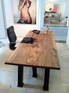 Office Table   Iron Wood Slab With Solid Steel Legs. Www.udogangl.com