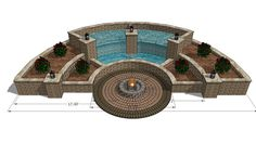 Hardscape Courtyard Water Feature and Firepit - 3D Warehouse