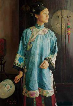 陈逸鸣油画作品:仕女系列-1 - 海棠依旧 2004年作 作品尺寸:120*85cm