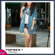 2015 Women blusas Spring Long Sleeve Casual Denim Shirt Slim Jeans Shirt Pocket Plus Size Long Design Shirts c382