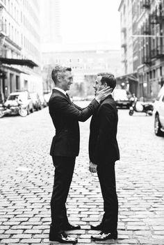 black+white wedding inspiration | LGBT wedding | classic tuxedos | via: refinery 29