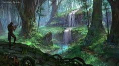 Elder Scrolls Online forest waterfall