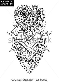 oriental pattern vector illustration islam arabic indian moroccanspain turkish pakistan chinese mystic ottoman motifs coloring book page