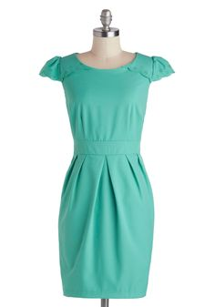 Right Time And Place Setting Dress. Youre ecstatic that everything is perfect for tonights party - from place settings on the table to the bow at the back of your teal dress by Darling. #mint #modcloth