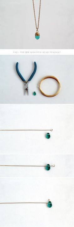 How to wrap a bead - Cómo envolver una perla para un collar #DIY #TUTORIAL #JEWERLY