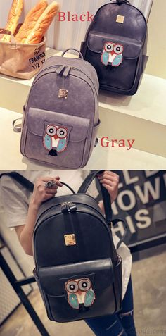 Cute Owl Black Cartoon Rucksack PU Schoolbag Simple Solid Animal Backpack for big sale ! #cartoon #owl #cute #backpack #school #bag #fashion