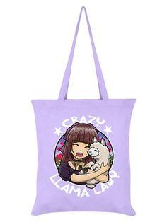 53ae83407e Crazy Llama Lady Lilac Tote Bag