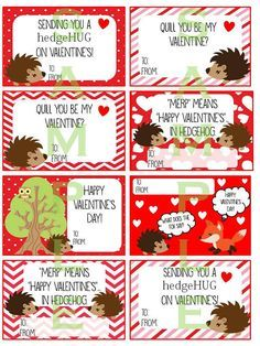 printable hedgehog valentines cards by happeninhooligans on etsy - Etsy Valentines Cards