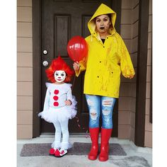 Pennywise and Georgie costume It, pennywise costume, Georgie costume, toddler pennywise, homemade cYou can find Homemade costu. Pennywise Costume For Kids, Scary Kids Halloween Costumes, Clown Halloween Costumes, Kids Costumes Girls, Halloween Costumes For Girls, Zombie Costumes, Halloween Couples, Group Halloween, Family Costumes