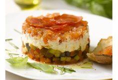Gravlaks façon tartare, bavarois de légumes du soleil