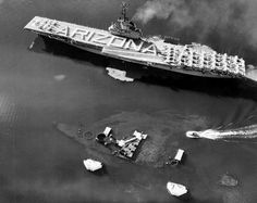 On this day in history: USS Bennington sailing by the wreck of USS Arizona Honolulu US Territory of Hawaii 30 May 1958.