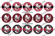 Inspired Cute Hello Kitty Atlanta Falcons Football 1 inch circle bottle cap image collage sheet 4x6 | qtpieproducts - Di