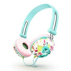 Ankit Pastel Peach Pink Floral Noise Isolating Headphones Apple Android Compatible Gifts For Her Over The Ear For Girls Headphones For Kids Earbuds For Running Gym Cool Travel Teens Bass