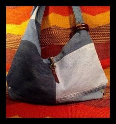 Large Reclaimed Denim Hobo by paintedponyarts on Etsy