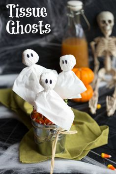 Ghost decorations made with tissues and twisty ties