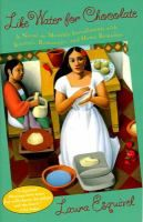 Like water for chocolate : a novel in monthly installments, with recipes, romances, and home remedies / Laura Esquivel ; translated by Carol Christensen and Thomas Christensen. A bestseller in Mexico, this book begins each chapter with a recipe.  This beautiful love story takes place on a ranch in turn-of-the-century Mexico and focuses on family, cooking, and passion.  Recommended by Suzanne.